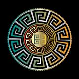 Ancient round ornament. Vector gold black blue meander pattern o. N the black  background. Antique mandala with greek key ornaments. Ornamental design. Graphic Royalty Free Stock Photo