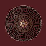 Ancient round ornament. Vector gold black meander pattern on the. Dark red background. Antique mandala with greek key ornaments. Ornamental design. Graphic Royalty Free Stock Images