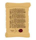 Ancient Royal Decree with print. Secret  Old yellow scroll. Abst Royalty Free Stock Photos
