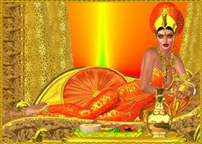 An ancient royal Egyptian woman. Relaxes on a golden chaise lounge, dressed in orange silk and wearing a gold crown. A table has a bowl of fruit on it and a Royalty Free Stock Images