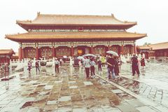 The ancient royal palaces of the Forbidden City in Beijing, Chin. A Stock Photos