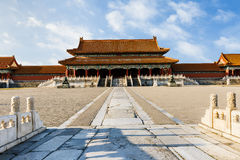 The ancient royal palaces of the Forbidden City in Beijing Stock Images