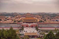 Ancient royal palaces of the Forbidden City in Beijing,China.  royalty free stock images