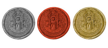 Ancient royal seals. Black, red, yellow Stock Images