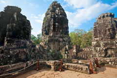 Ancient ruin of the Bayon temple, Angkor Wat Cambodia Royalty Free Stock Images