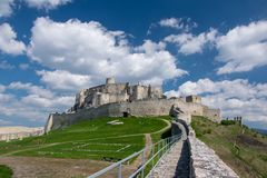 Ancient ruin of Spis Castle, Slovakia at summer sunshine day. Ancient ruin of Spis Castle - Spissky hrad, National Cultural Monument - UNESCO, Slovakia at summer stock photography