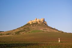 Ancient ruin of Spis Castle, Slovakia in sunrise light stock images