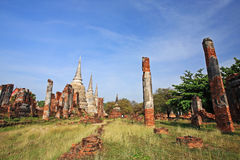 Ancient ruin structures and three pagodas Stock Images