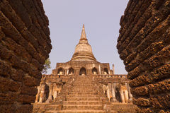 Ancient ruin stupa at Wat Chang Lom , Si Satchanalai, Thailand Royalty Free Stock Photo