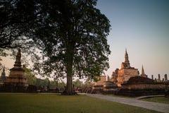 Ancient ruin temple and pagoda at Sukhothai Historical Park Royalty Free Stock Photos