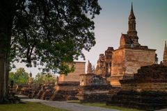 Ancient ruin temple and pagoda at Sukhothai Historical Park. UNESCO World Heritage Site in Thailand stock photo