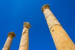 Ancient ruin at Umm Qais in Jordan closeup of pillars Royalty Free Stock Photos