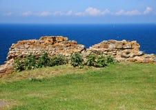Ancient ruin wall of rocks with horizon Royalty Free Stock Photos