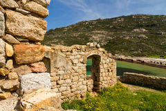 Ancient ruined building on the coast of Corsica Stock Images