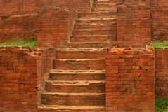 Ancient ruined building staircase of near Dhaka, Bangladesh. Made of old bricks, lime and clay stock photos