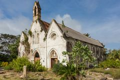 An ancient ruined church building in Barbados Stock Images