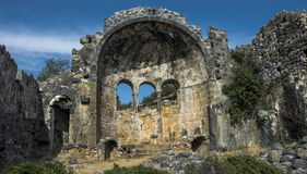An ancient ruined church in St. Nicholas stock photo