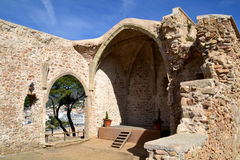 Ancient ruined church in Tossa de Mar Stock Photos