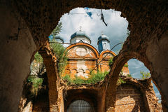 Ancient ruined Orthodox temple with arches and domes. Ancient ruined abandoned Orthodox temple with arches and domes Royalty Free Stock Photos