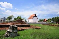 Ancient ruined pagoda and new monastery Royalty Free Stock Image