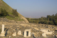 Ancient ruined roman temple in Beit Shean. View to rich archeological site in Beit Shean (Scythopolis), Israel Royalty Free Stock Images