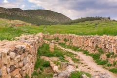 Ancient ruined settlement road Pamukkale Turkey Stock Photos