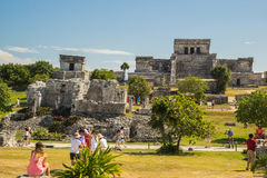 Ancient ruines at archaeological site, Mexico. Ancient Mayan city Tulum is one of the most attractive places of Mexico Stock Image