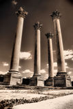 Ancient ruins 03. Scary looking pillars from below royalty free stock images