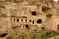 Ancient ruins. Ancient caverns and dwellings in central Anatolia region of Turkey from early Christian years Stock Image