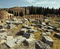 Ancient ruins. The ruins of the ancient city of Hierapolis on the hill Pamukkale, Turkey. Artistic colors added Royalty Free Stock Photo