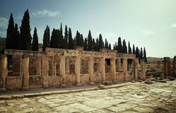 Ancient ruins. The ruins of the ancient city of Hierapolis on the hill Pamukkale, Turkey. Artistic colors added Royalty Free Stock Images