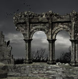 Ancient ruins. Illustration of some ruins in bad weather Royalty Free Stock Photography