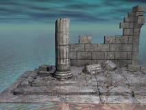 Ancient ruins. Ancient Greek Roman rendered ruins Royalty Free Stock Image