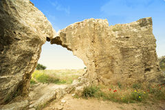Ancient ruins. Rocks of Cyprus island that author have seen in sunny day of early spring Stock Photos