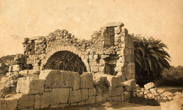Ancient ruins. Archaeological sight in Patara, Turkey. Ancient lycian town. Aged photo effect with scan of old paper stock image