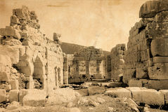 Ancient ruins. Archaeological sight in Patara, Turkey. Ancient lycian town. Aged photo effect with scan of old paper royalty free stock image