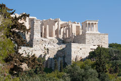 Ancient ruins on Acropolis of Athens, Greece Stock Photos