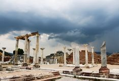 Ancient ruins against a stormy sky stock photos