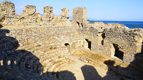 The ancient ruins of Amphitheater in Anemurium. Stock Photography
