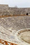 Ruins of amphitheater of Hierapolis, in Pamukkale, Turkey royalty free stock photo