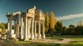 Ancient ruins of Aphrodisias. Tetrapylon was the monumental gate of the Temple of Aphrodite. Time lapse, 4k. stock footage