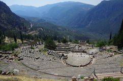 Ancient ruins of Apollo temple in Delphi, Greece Royalty Free Stock Images