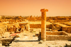 Ancient ruins in the Archaeological Park of Paphos, Cyprus. Tone Stock Photography