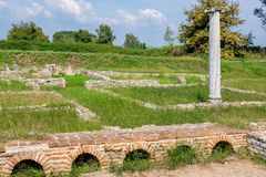 Ancient ruins in Archeological Site. Dion, Greece stock image