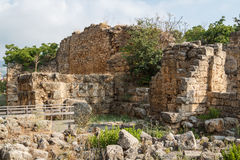 Ancient ruins around castle of Byblos Stock Photos