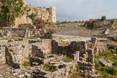 Ancient ruins around castle of Byblos Royalty Free Stock Photo