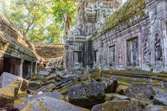 Ancient ruins of Beng Mealea temple in Cambodia. It has Khmer cultural architechture design Royalty Free Stock Photo