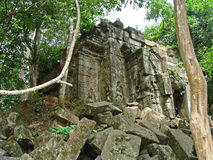 Ancient ruins of Beng Melia in the jungle, Cambodia. Royalty Free Stock Image