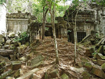Ancient ruins of Beng Melia in the jungle, Cambodia. Royalty Free Stock Photo