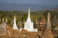 Ancient Ruins of Buddhist Stupas in  Indein. Stock Photo